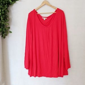 Sejour Red V-Neck Long Sleeve Swing Tee in